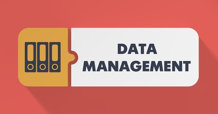 systematization: Data Management Concept in Flat Design with Long Shadows. Stock Photo