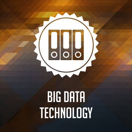 Big Data Technology Concept. Retro label design. Hipster background made of triangles, color flow effect. photo