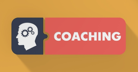 Coaching Concept in Flat Design with Long Shadows. photo