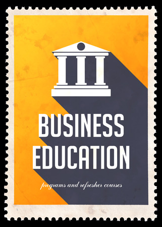 Business Education on Yellow Background with Icon of Building with Columns. Vintage Concept in Flat Design with Long Shadows.