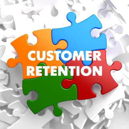 Customer Retention on Multicolor Puzzle on White Background.