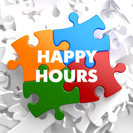 Happy Hours on Multicolor Puzzle on White Background. photo