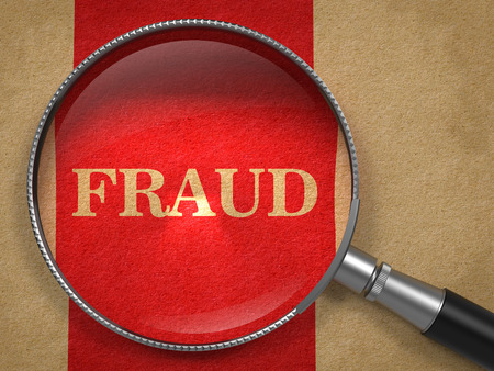 imposture: Fraud Concept. Magnifying Glass on Old Paper with Red Vertical Line Background. Stock Photo