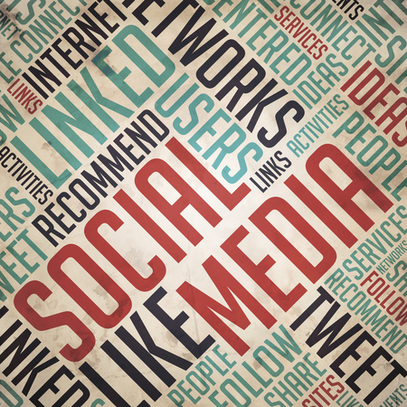 fulvous: Social Media in Red and Blue Color. Vintage Wordcloud Concept.