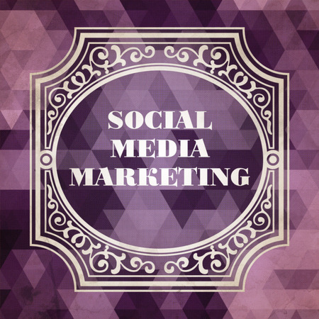Social Media Marketing Concept. Vintage design. Purple Background made of Triangles. photo