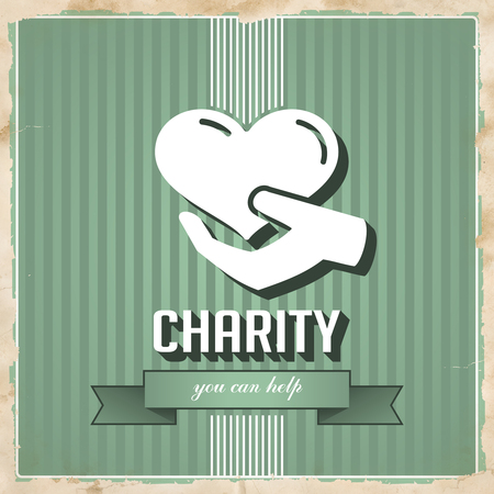 Charity with Icon of Heart in Hand on Green Striped Background. Vintage Concept in Flat Design. photo