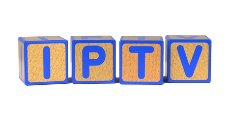 vod: IPTV on Colored Wooden Childrens Alphabet Block Isolated on White.