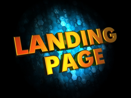 Landing Page Concept - Golden Color Text on Dark Blue Digital Background. photo