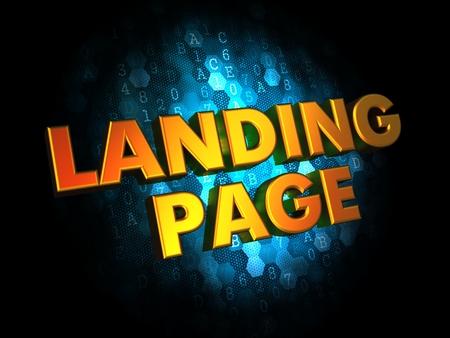 capturing: Landing Page Concept - Golden Color Text on Dark Blue Digital Background.