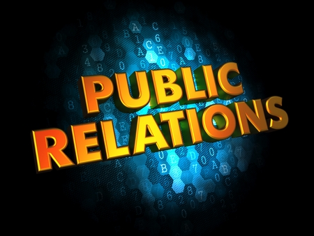 Public Relations Concept - Golden Color Text on Dark Blue Digital Background. photo