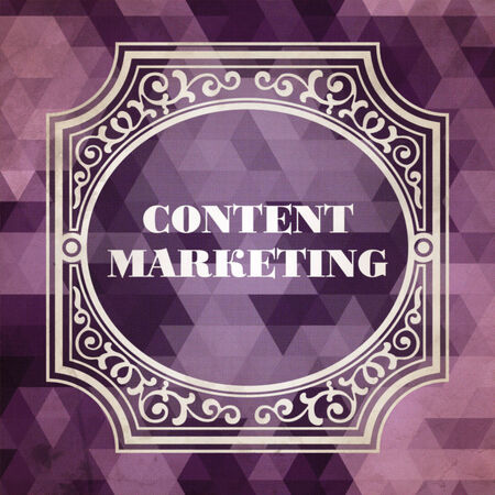 Content Marketing Concept. Vintage design. Purple Background made of Triangles. photo