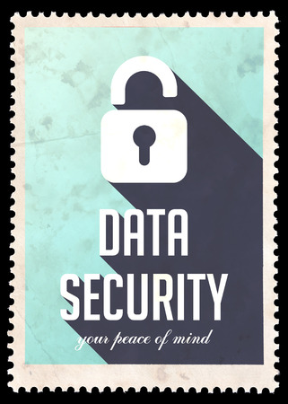Data Security on Blue Background. Vintage Concept in Flat Design with Long Shadows. photo