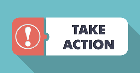 take action: Take Action on Blue in Flat Design with Long Shadows.