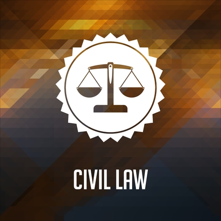 lawmaking: Civil Law Concept. Retro label design. Hipster background made of triangles, color flow effect. Stock Photo