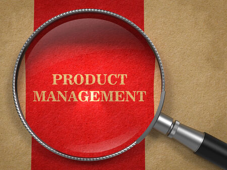 defining: Product Management Concept. Magnifying Glass on Old Paper with Red Vertical Line Background.