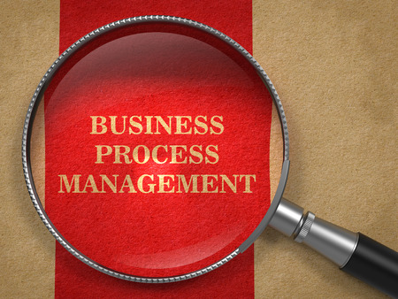business process: Business Process Management Concept. Magnifying Glass on Old Paper with Red Vertical Line Background. Stock Photo