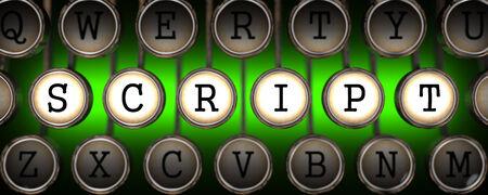Script on Old Typewriters Keys on Green Background.
