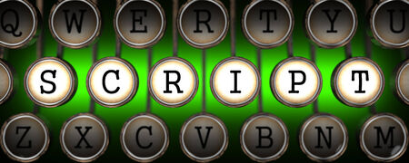 executable: Script on Old Typewriters Keys on Green Background.