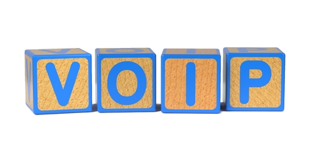 mobile voip: VOIP on Colored Wooden Childrens Alphabet Block Isolated on White. Stock Photo