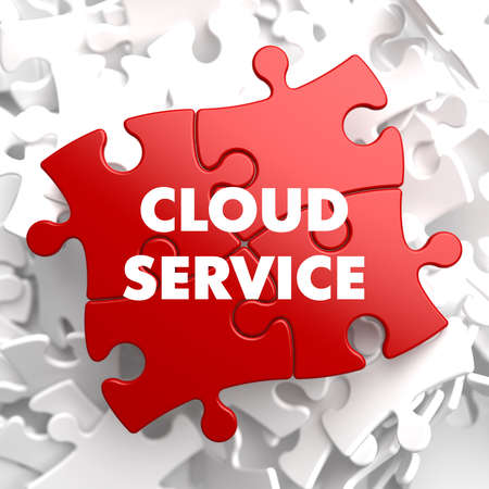 Cloud Service on Red Puzzle on White Background. photo