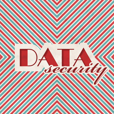 Data Security Concept on Red and Blue Striped Background. Vintage Concept in Flat Design. photo