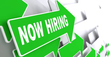 Now Hiring Concept. Green Arrows on a Grey Background Indicate the Direction. photo