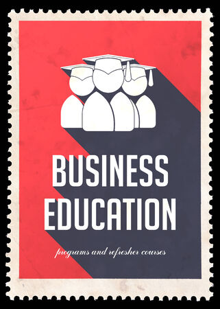 Business Education on Red Background with Icon of Graduates. Vintage Concept in Flat Design with Long Shadows. Stock Photo