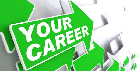 Your Career Concept. Green Arrows on a Grey Background Indicate the Direction. photo