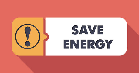 scarlet: Save Energy Concept on Scarlet in Flat Design with Long Shadows.