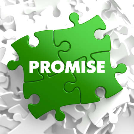 pledge: Promise on Green Puzzle on White Background.