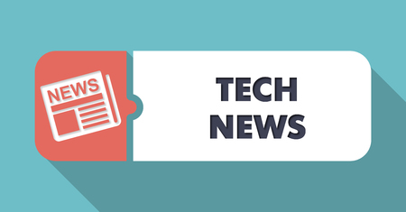 modernization: Tech News Concept in Flat Design with Long Shadows on Blue Background.