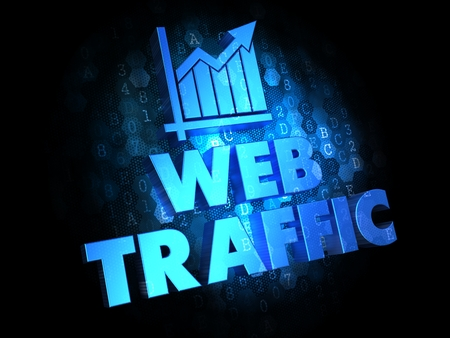 Web Traffic. Growth Concept. Blue Color Text on Dark Digital Background. photo
