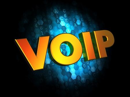 VOIP Concept - Golden Color Text on Dark Blue Digital Background. photo