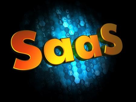 SAAS Concept - Golden Color Text on Dark Blue Digital Background. photo