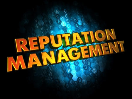 release: Reputation Management Concept - Golden Color Text on Dark Blue Digital Background. Stock Photo