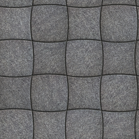 Decorative Gray Pavement of Concave and Convex Quadrilaterals. Seamless Tileable Texture.