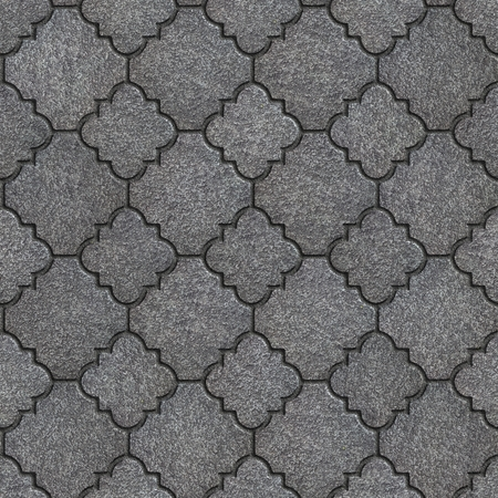 Concrete Gray Figured Pavement of Different Sizes. Seamless Tileable Texture. photo
