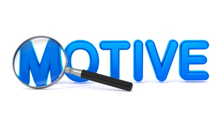 prompting: Motive - Blue 3D Word Through a Magnifying Glass on White Background.