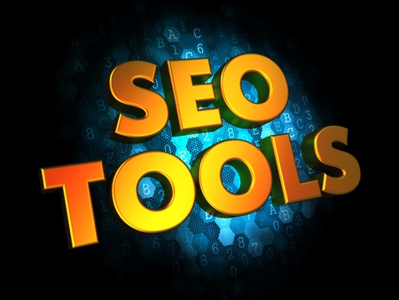 rewriting: Seo Tools Concept - Golden Color Text on Dark Blue Digital Background.