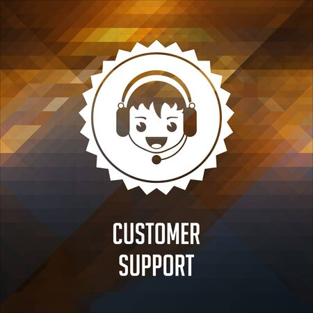 Customer Support. Retro label design. Hipster background made of triangles, color flow effect. photo