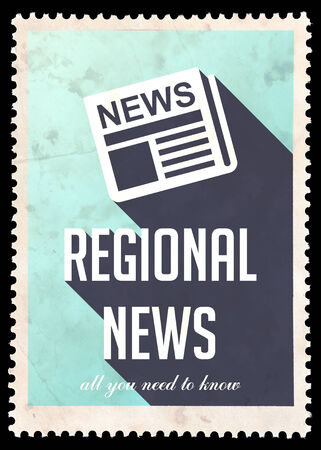 zonal: Regional News on Blue Background. Vintage Concept in Flat Design with Long Shadows. Stock Photo