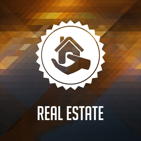 Real Estate. Retro label design. Hipster background made of triangles, color flow effect. Stock Photo - 27555837