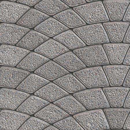 Concrete Gray Granular Pavement Laid as Semicircle. Seamless Tileable Texture.