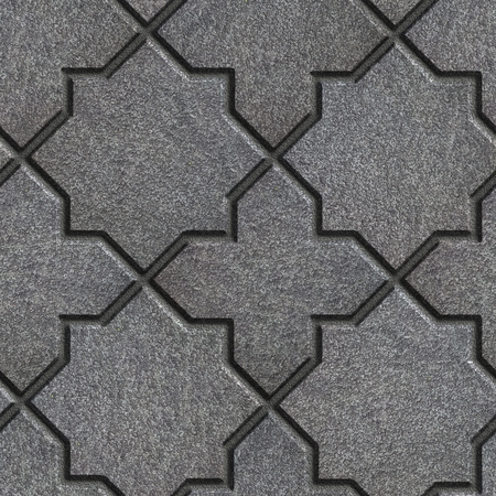 octagonal: Concrete Gray Pavement in the form of quatrefoils and octagonal stars. Seamless Tileable Texture. Stock Photo