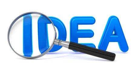 Idea - Blue 3D Word Through a Magnifying Glass on White Background. photo