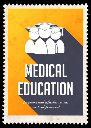 Medical Education on Yellow Background. Vintage Concept in Flat Design with Long Shadows.