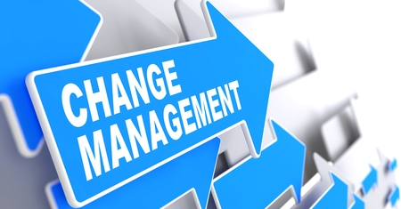 to metamorphose: Change Management Concept. Blue Arrows on a Grey Background Indicate the Direction.