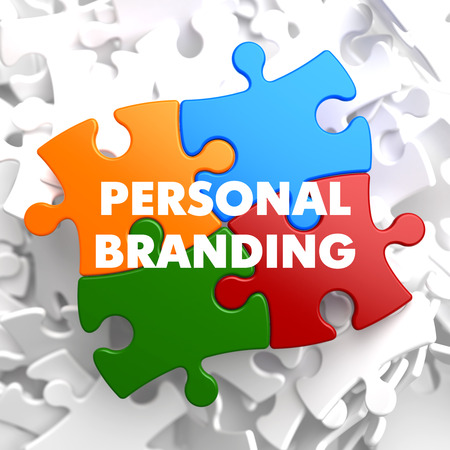 branding: Personal Branding on Multicolor Puzzle on White Background.