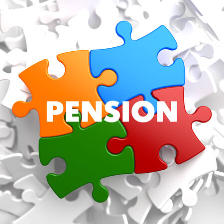 Pension on Multicolor Puzzle on White Background. Stock Photo