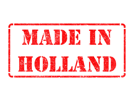 made in netherlands: Made in Holland - inscription on Red Rubber Stamp Isolated on White.
